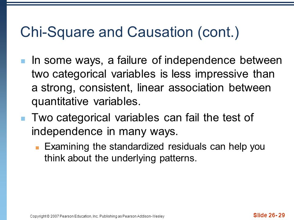 Chi-Square and Causation (cont.)
