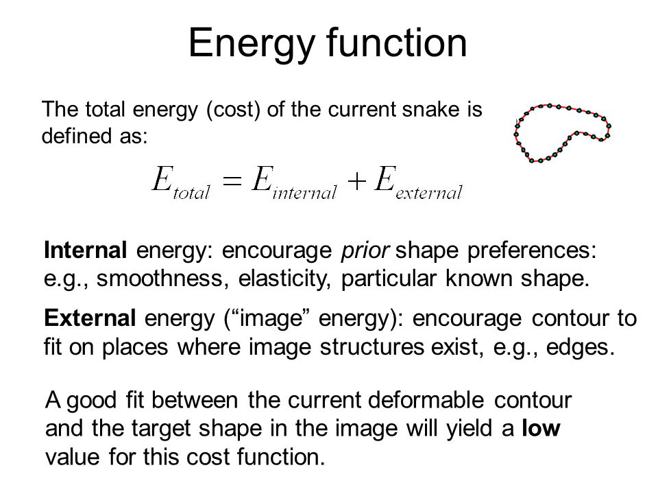 Energy function The total energy (cost) of the current snake is defined as: