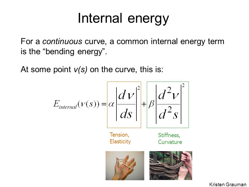 Internal energy For a continuous curve, a common internal energy term is the bending energy . At some point v(s) on the curve, this is:
