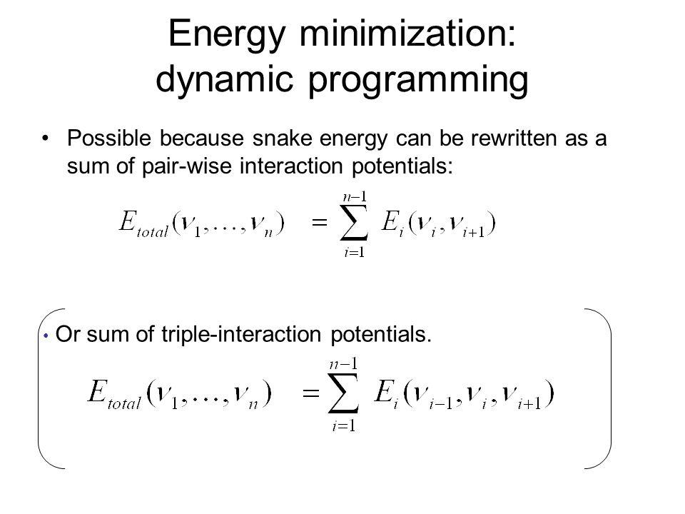 Energy minimization: dynamic programming