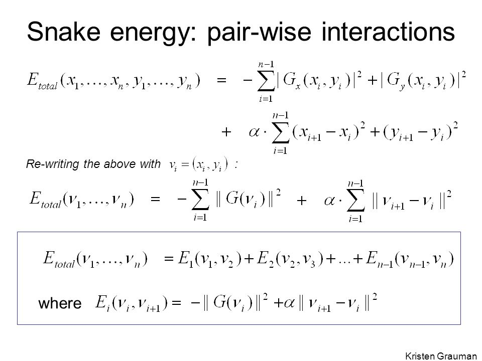 Snake energy: pair-wise interactions