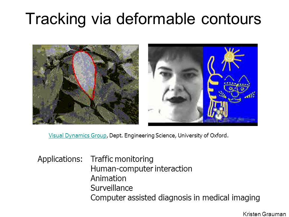 Tracking via deformable contours