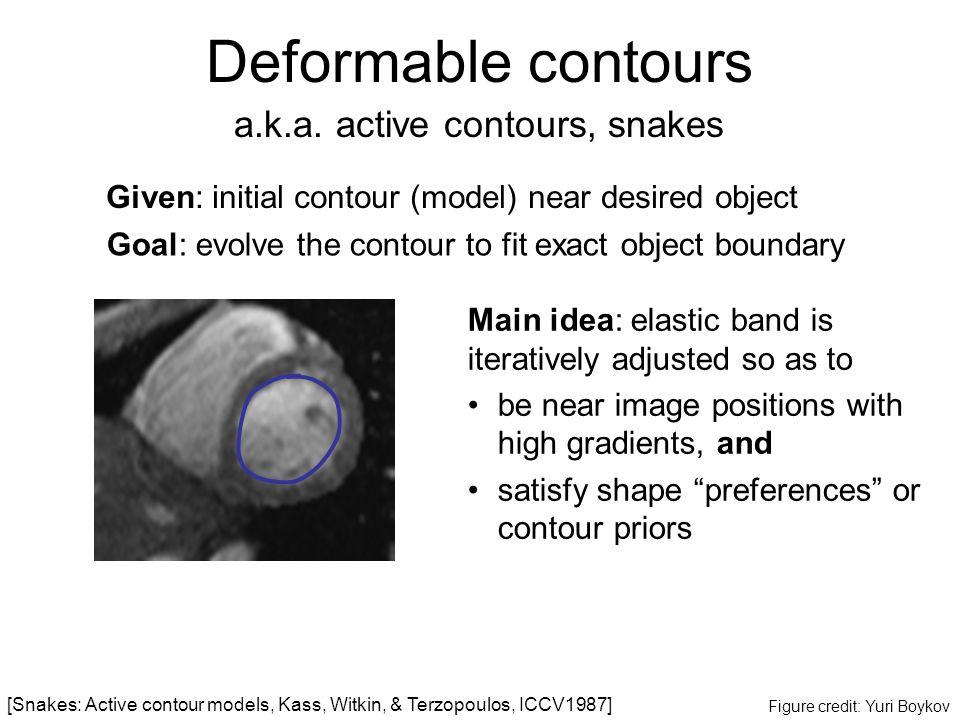 Deformable contours a.k.a. active contours, snakes