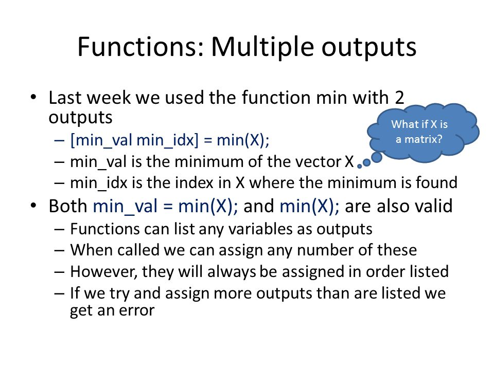 Functions: Multiple outputs