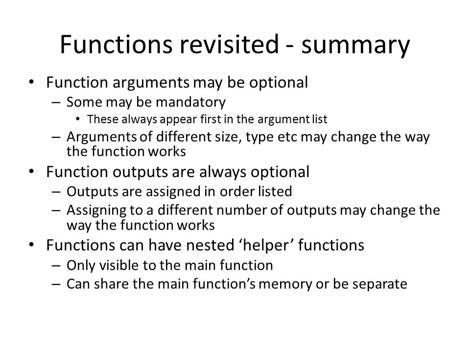 Functions revisited - summary