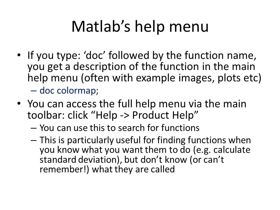Matlab's help menu