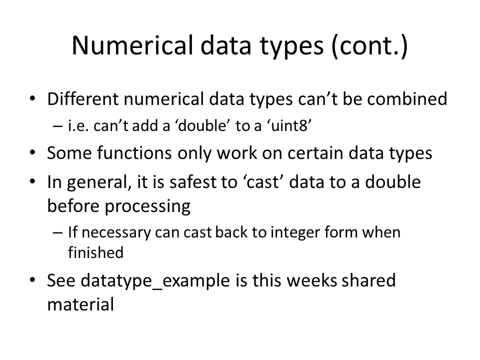 Numerical data types (cont.)