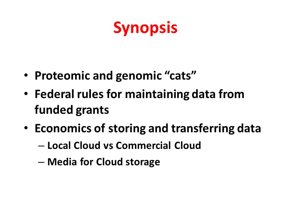 Synopsis Proteomic and genomic cats