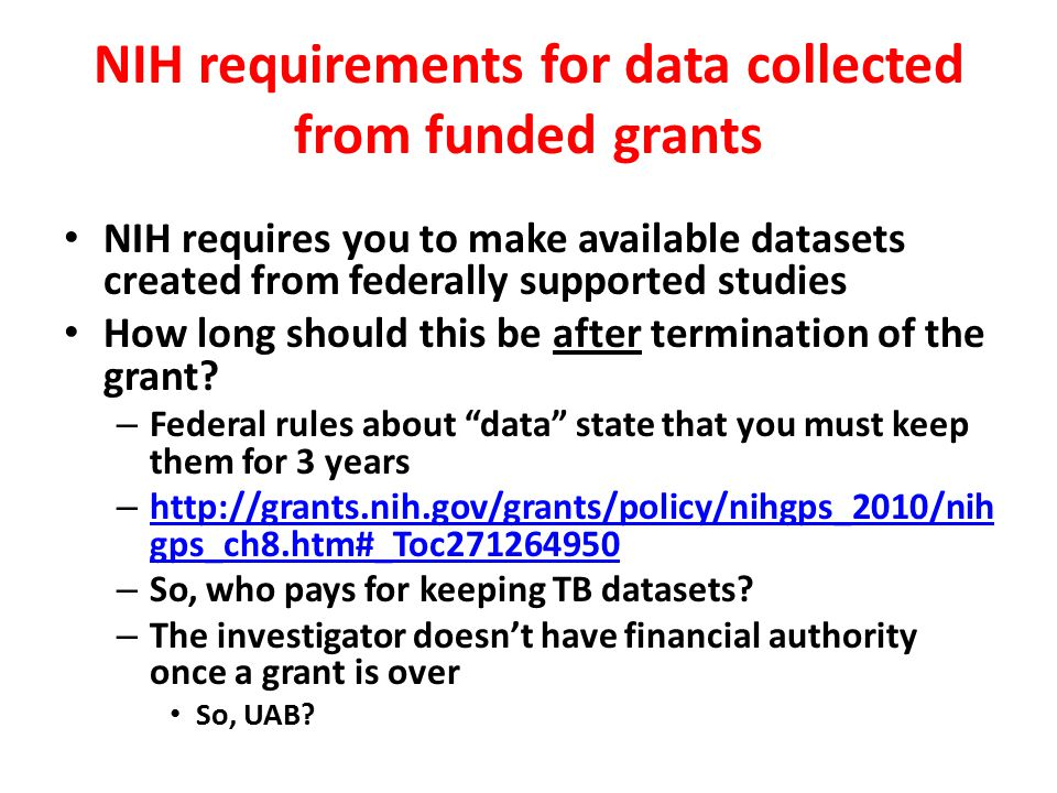 NIH requirements for data collected from funded grants