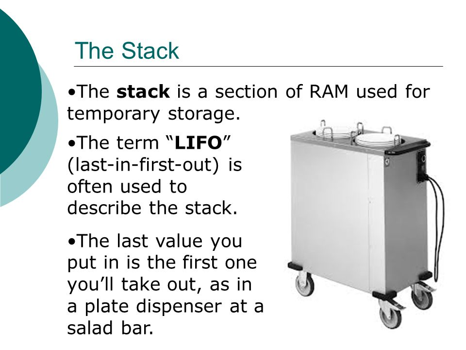 The Stack The stack is a section of RAM used for temporary storage.