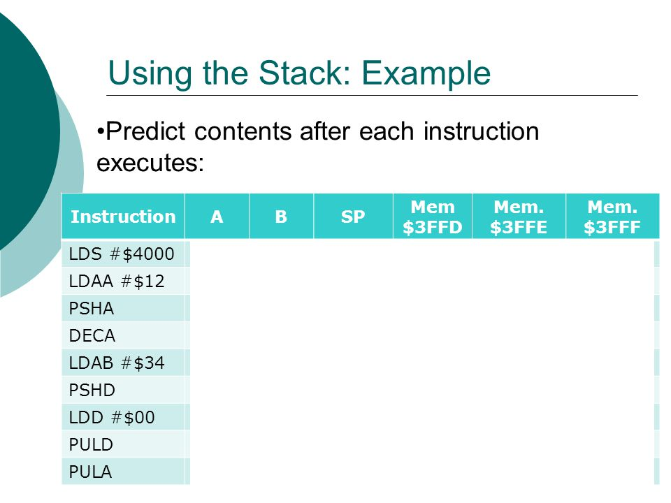 Using the Stack: Example