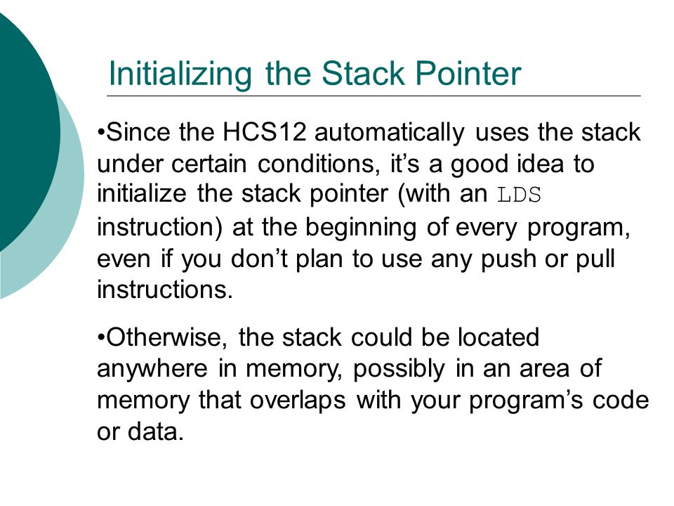 Initializing the Stack Pointer