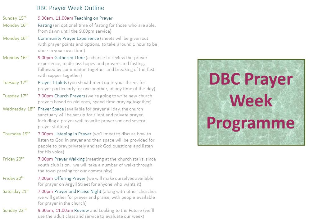 DBC Prayer Week Programme