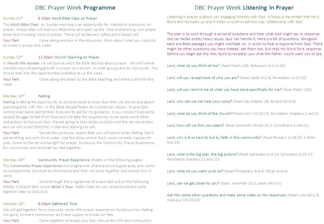 DBC Prayer Week Listening in Prayer