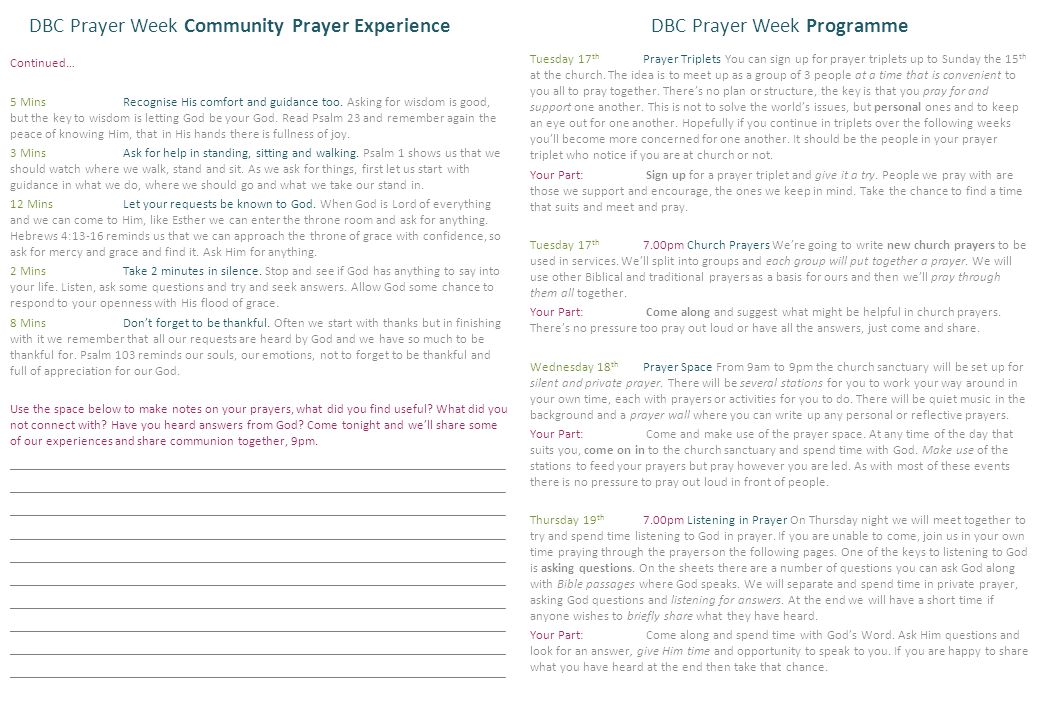 DBC Prayer Week Community Prayer Experience