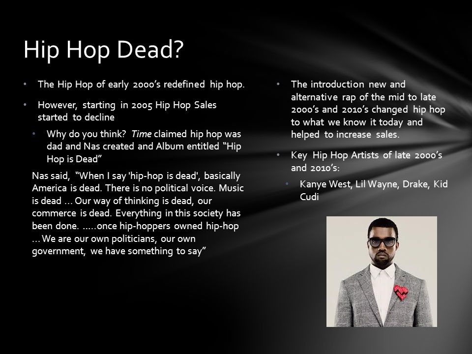 Hip Hop Dead The Hip Hop of early 2000's redefined hip hop.