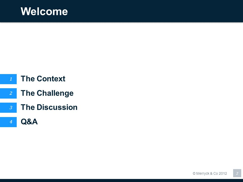 Welcome The Context The Challenge The Discussion Q&A 1 2 3 4