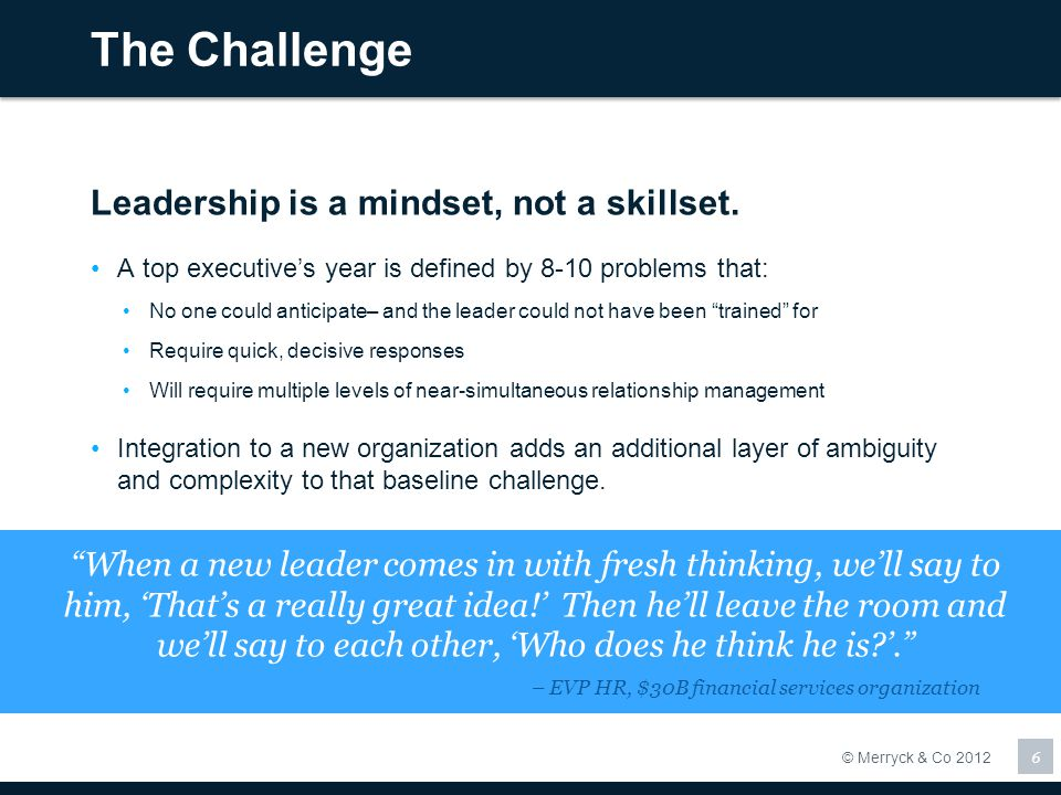 The Challenge Leadership is a mindset, not a skillset.