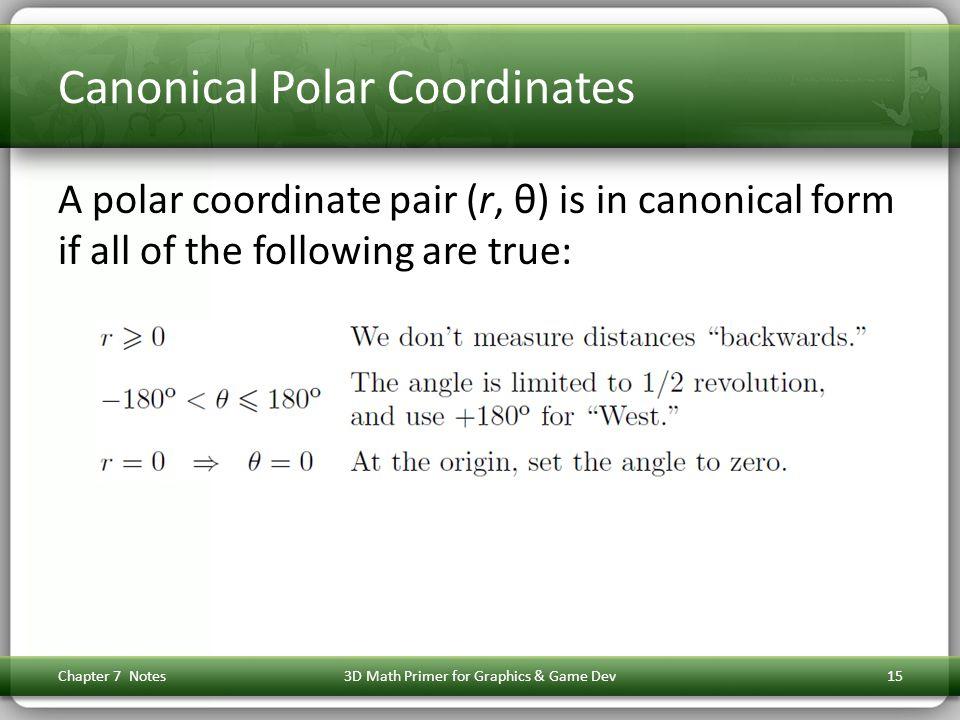 Canonical Polar Coordinates