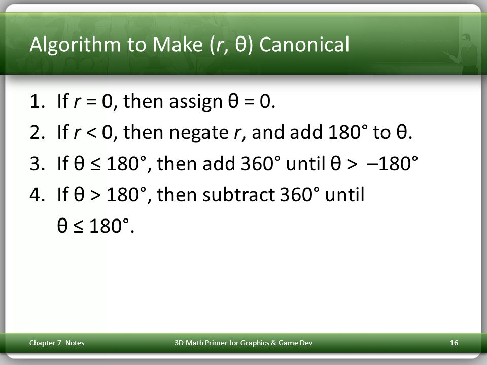 Algorithm to Make (r, θ) Canonical