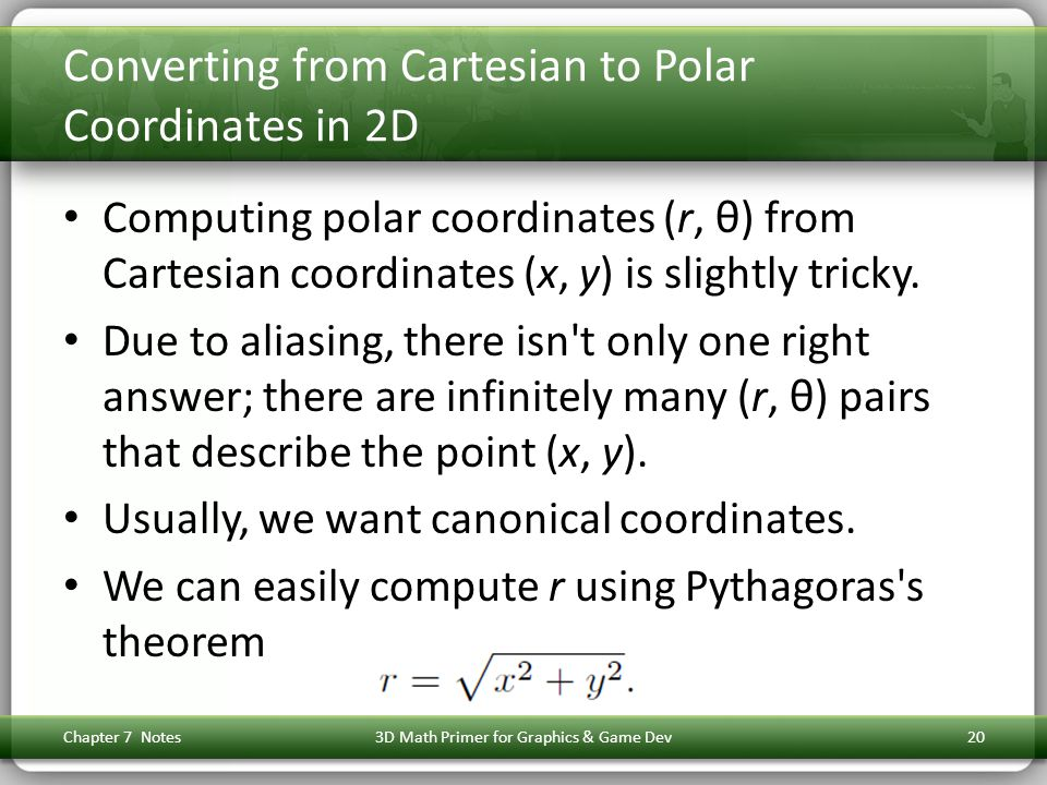 Converting from Cartesian to Polar Coordinates in 2D