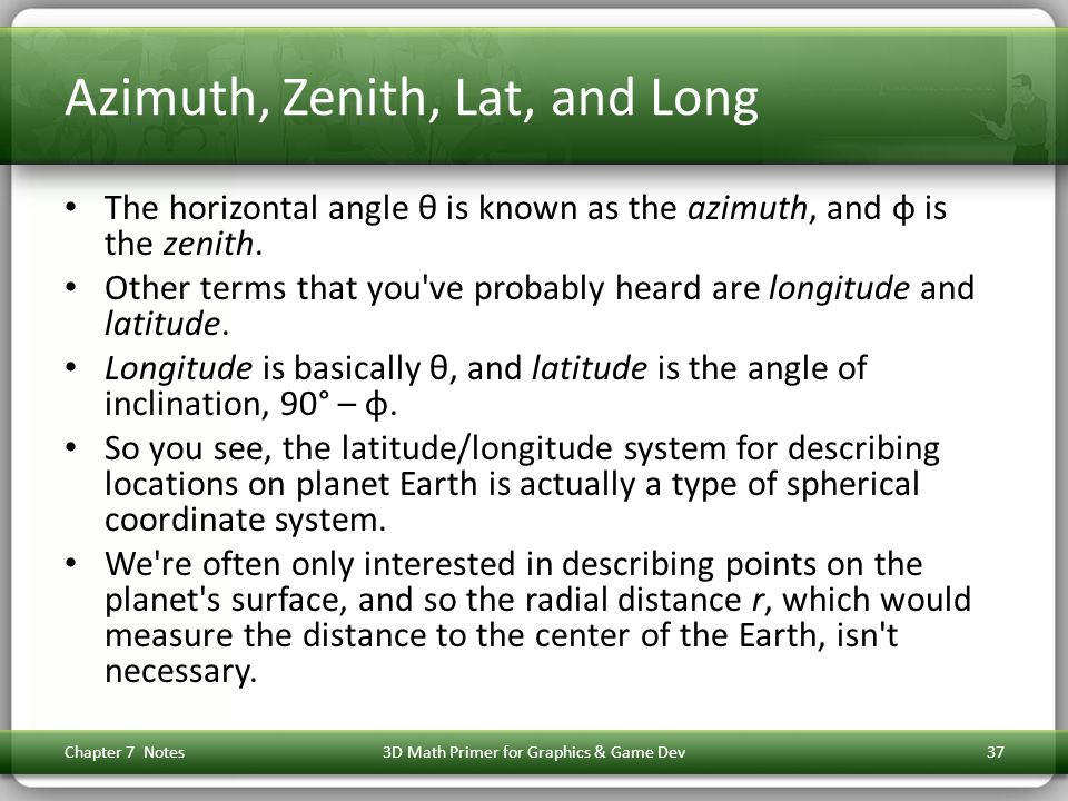 Azimuth, Zenith, Lat, and Long