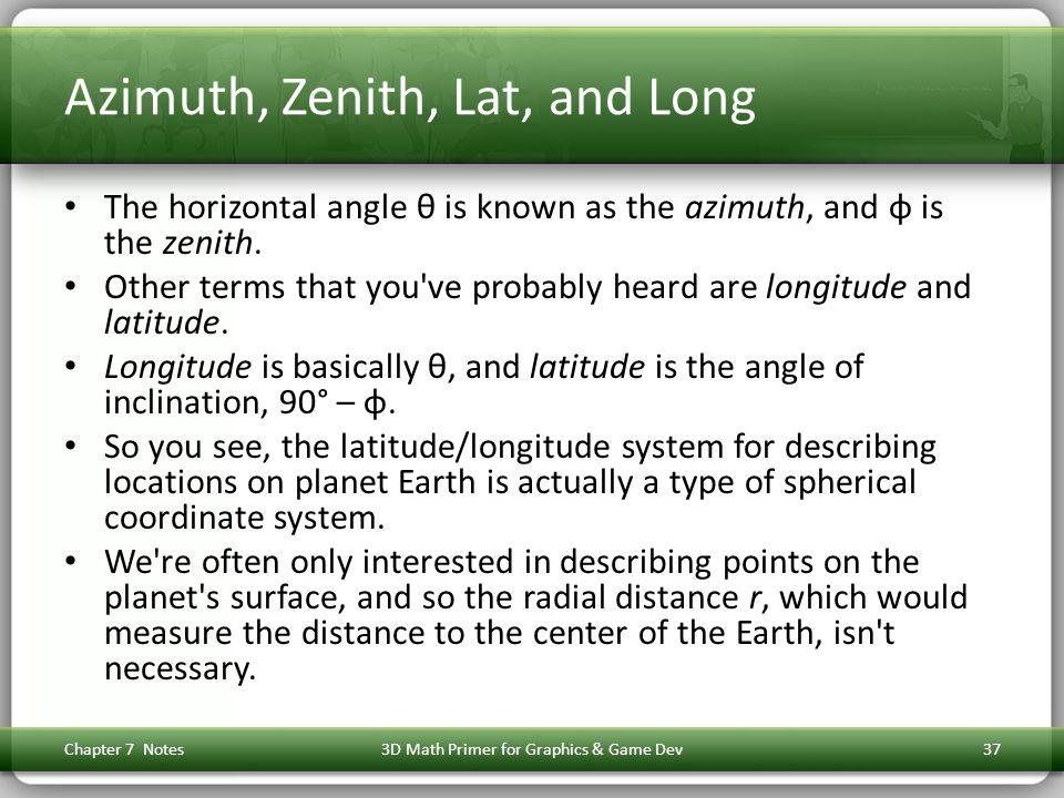 Azimuth, Zenith, Lat, and Long