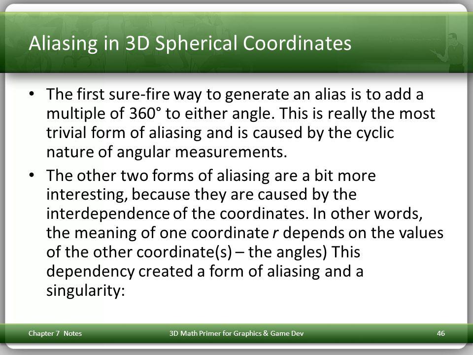 Aliasing in 3D Spherical Coordinates
