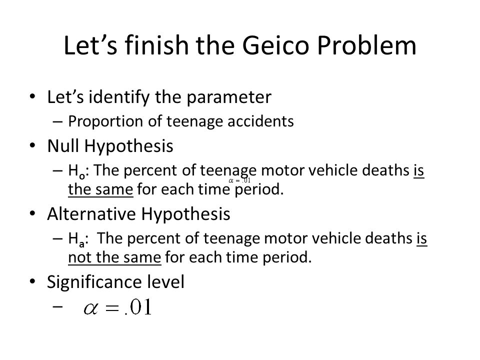 Let's finish the Geico Problem