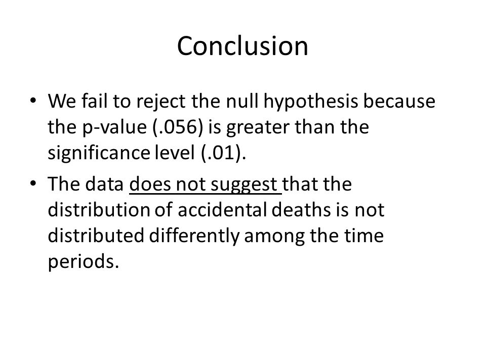 Conclusion We fail to reject the null hypothesis because the p-value (.056) is greater than the significance level (.01).