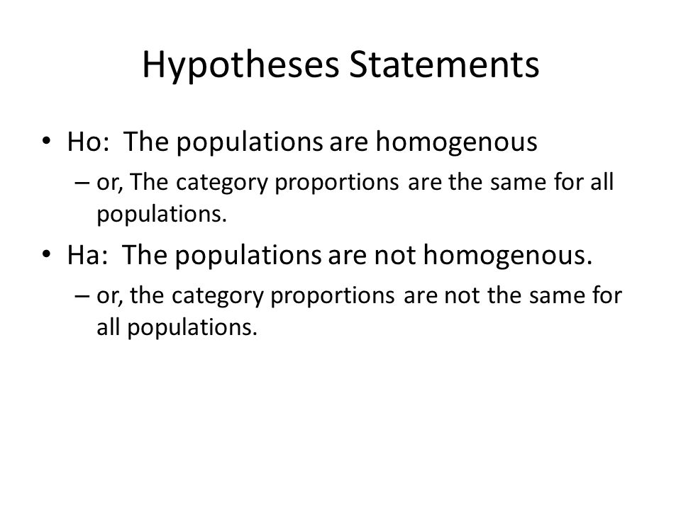Hypotheses Statements