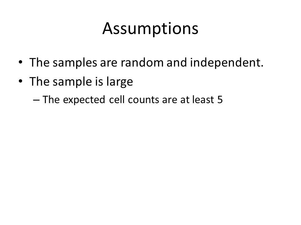 Assumptions The samples are random and independent.