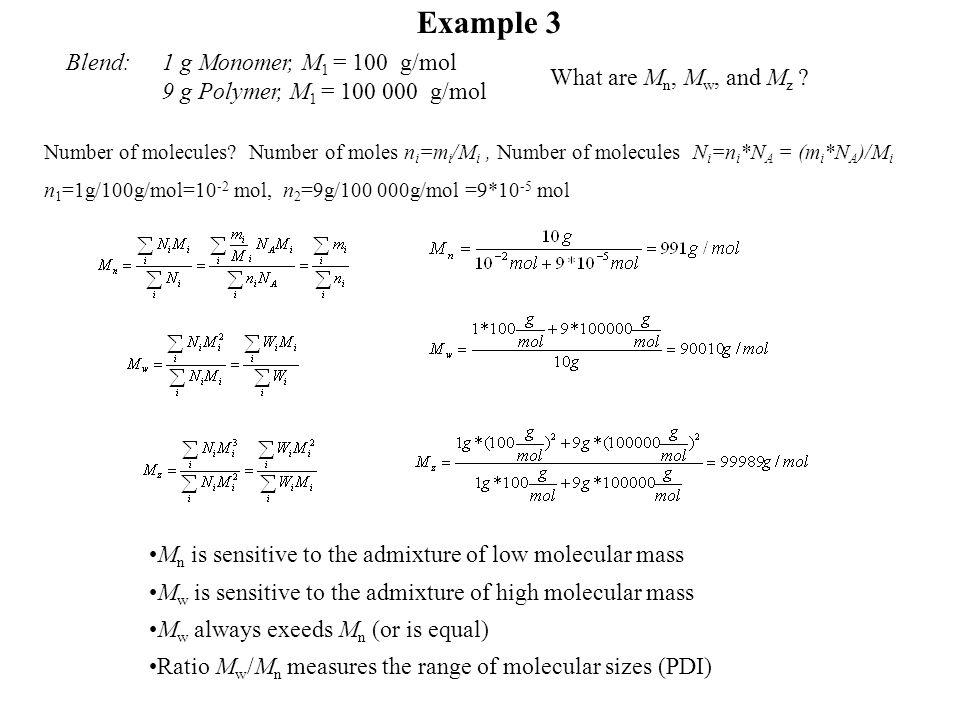 Example 3 Blend: 1 g Monomer, M1 = 100 g/mol