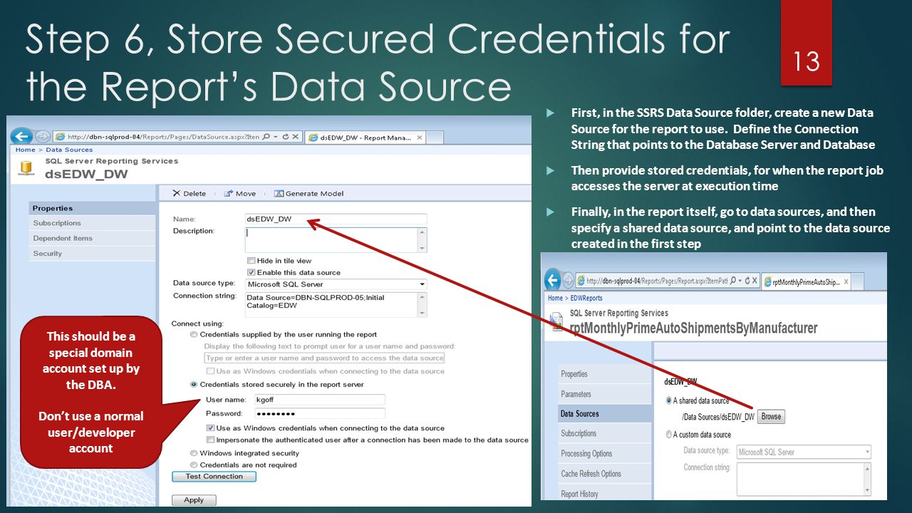 Step 6, Store Secured Credentials for the Report's Data Source