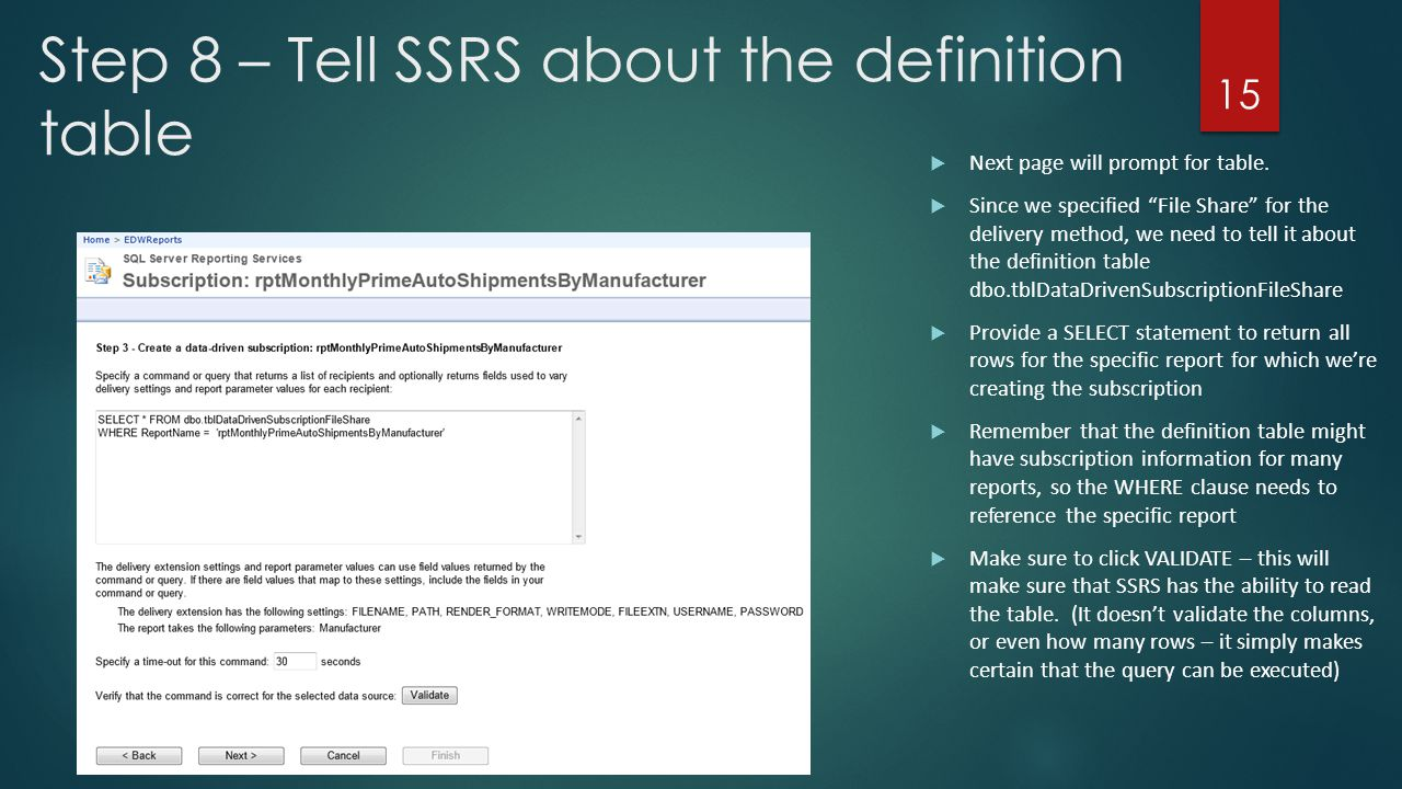 Step 8 – Tell SSRS about the definition table
