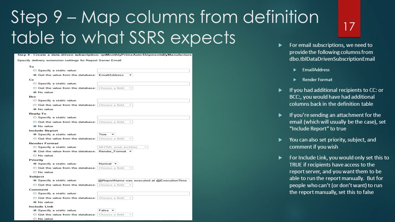 Step 9 – Map columns from definition table to what SSRS expects