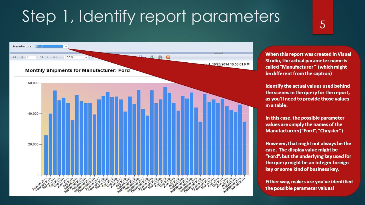 Step 1, Identify report parameters