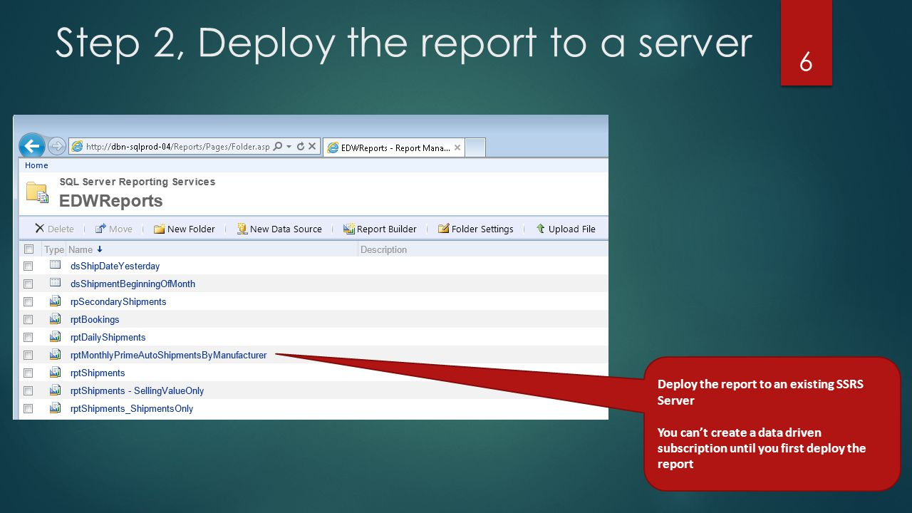 Step 2, Deploy the report to a server