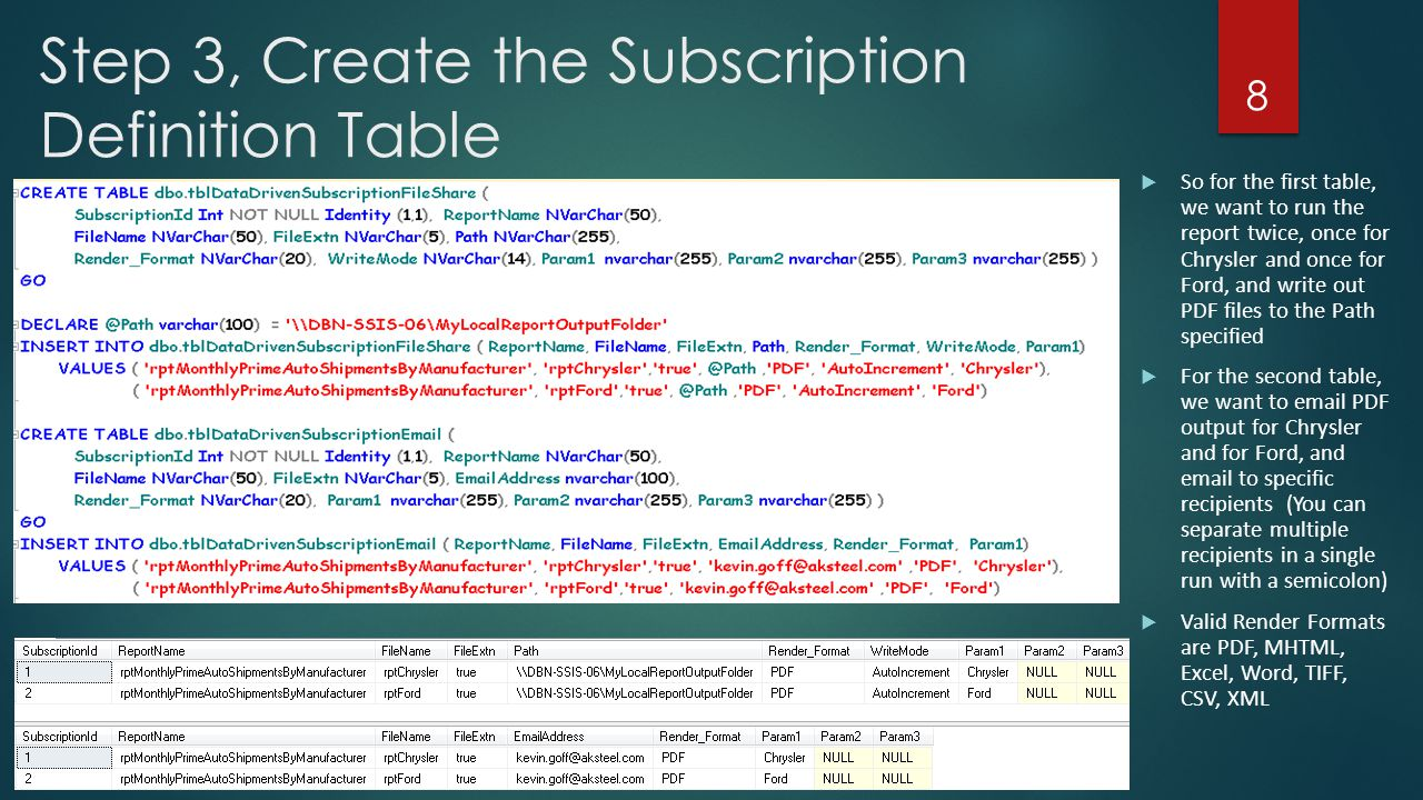 Step 3, Create the Subscription Definition Table