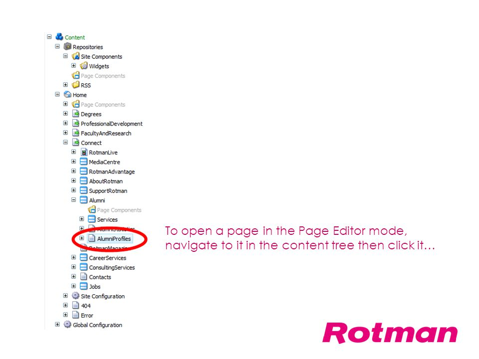 To open a page in the Page Editor mode, navigate to it in the content tree then click it…