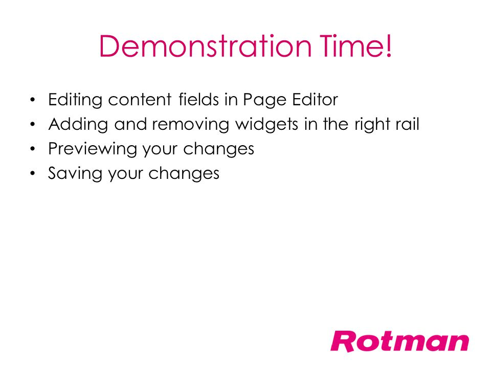 Demonstration Time! Editing content fields in Page Editor