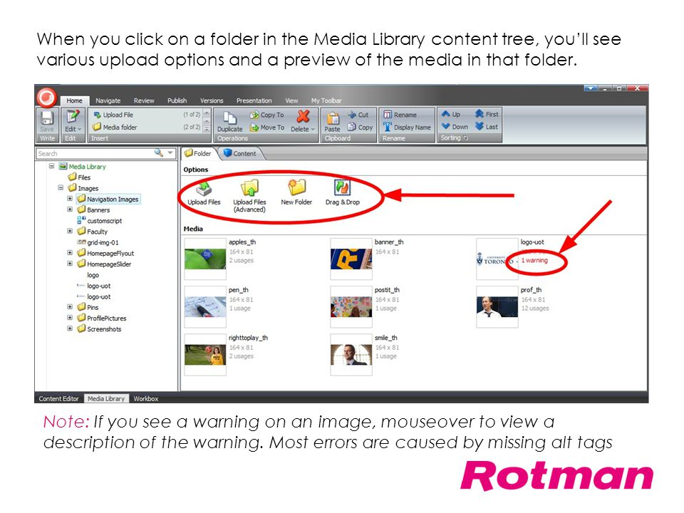When you click on a folder in the Media Library content tree, you'll see various upload options and a preview of the media in that folder.