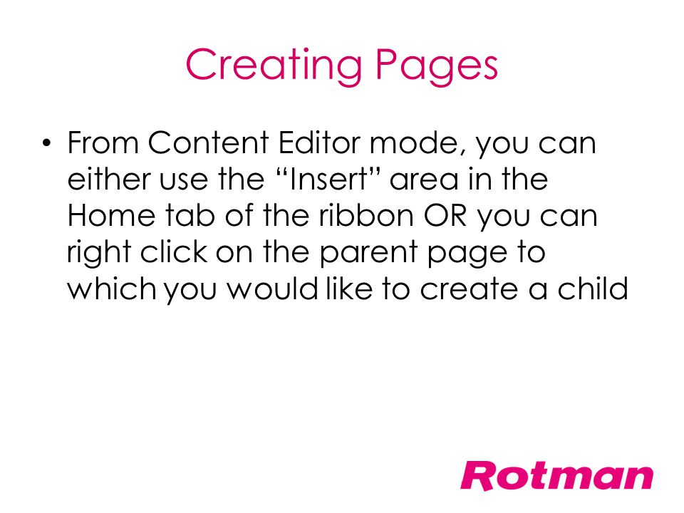 Creating Pages