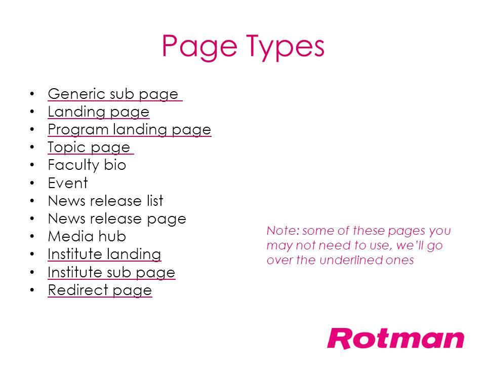 Page Types Generic sub page Landing page Program landing page