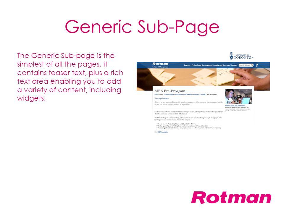 Generic Sub-Page
