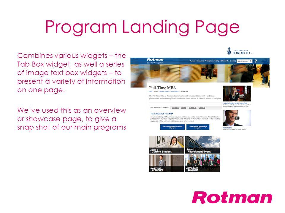 Program Landing Page