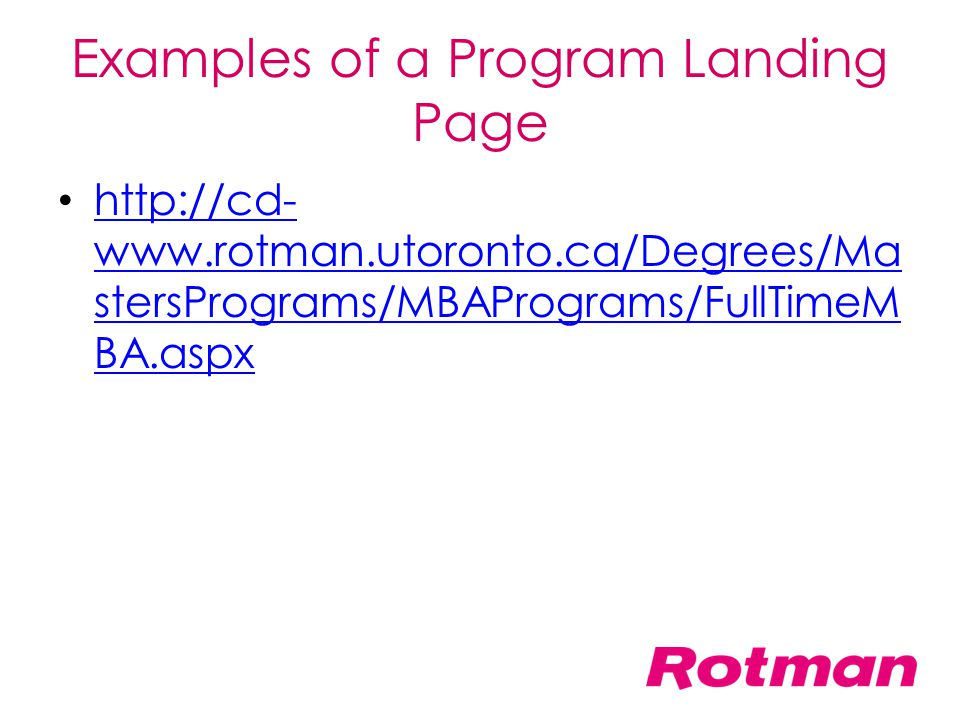 Examples of a Program Landing Page