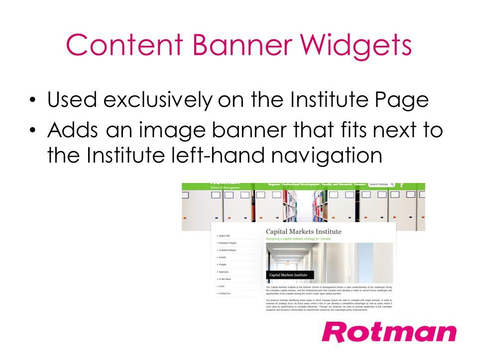 Content Banner Widgets