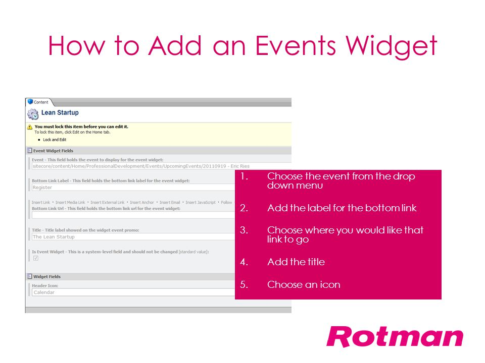 How to Add an Events Widget