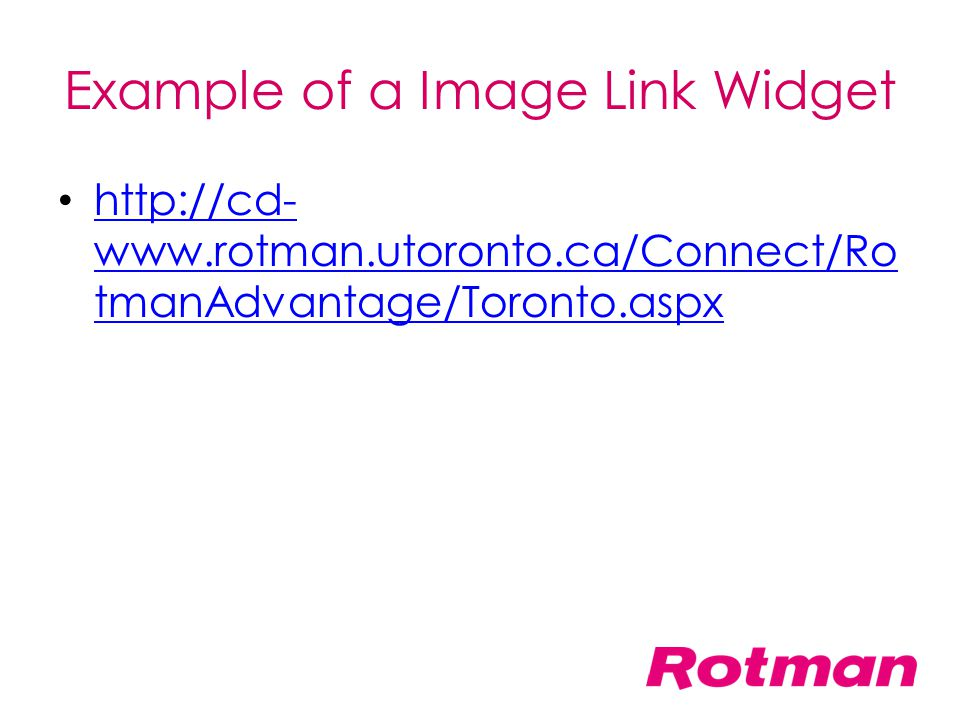 Example of a Image Link Widget
